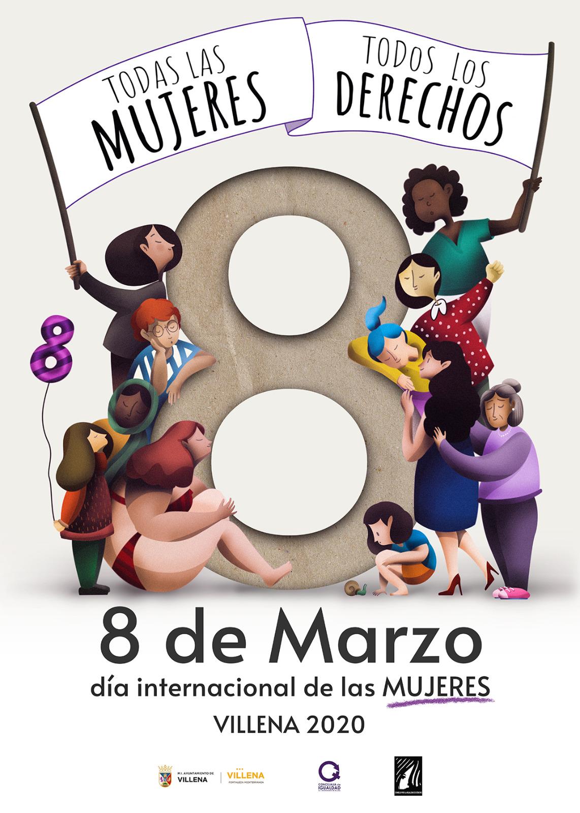 Cartel del 8 de marzo día internacional de las mujeres. Villena 2020. Todas las mujeres. Todos los derechos.