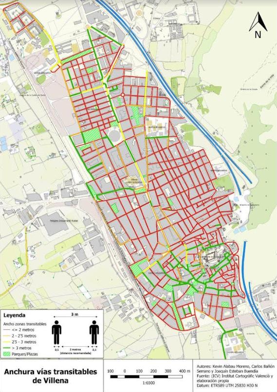 Un trabajo de cartografía de Villena permite conocer las calles  más seguras para desplazarse en la ciudad